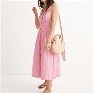 Madewell Pink Fleur Bow-Back Midi Dress
